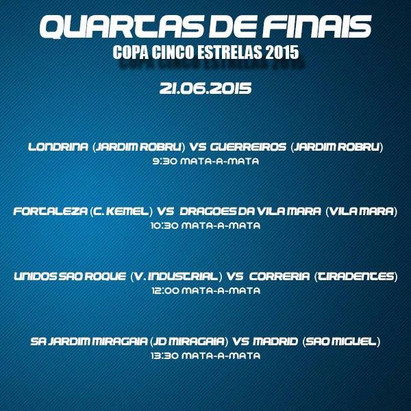Quartas-de-final da Copa Cinco Estrelas agita o CDC Serra Queimada neste domingo